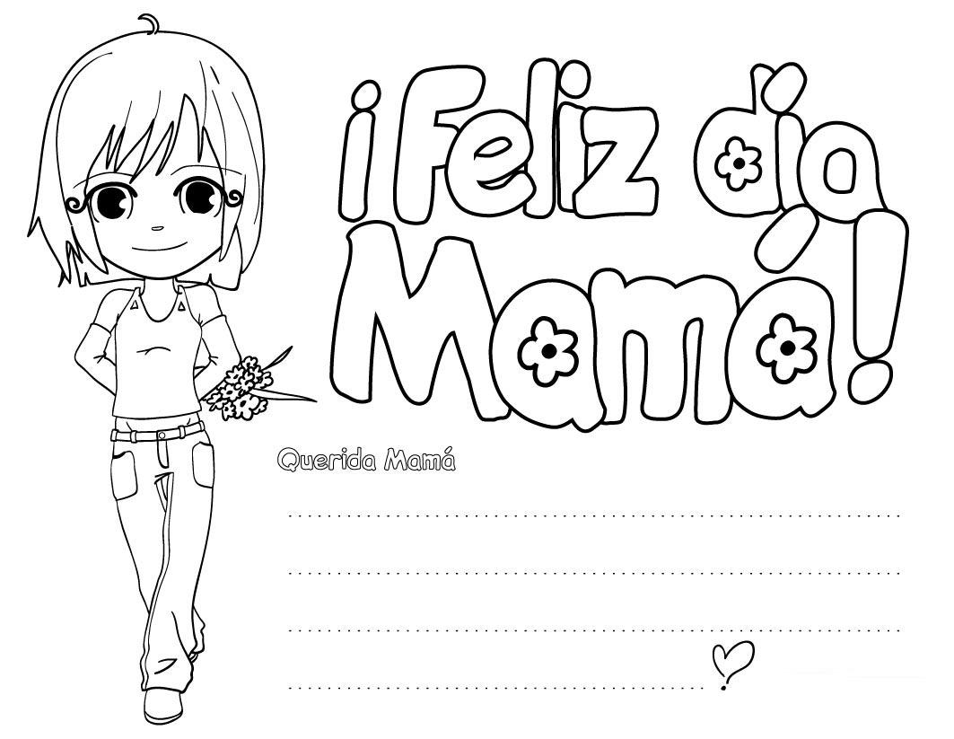 Dibujo Para Imprimir Y Colorear De Feliz Día De La Mamá