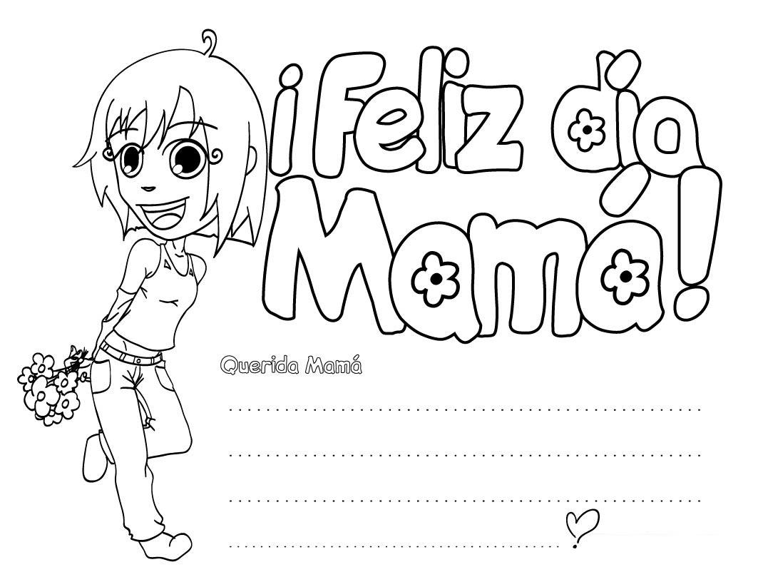 Dibujo Para Imprimir Y Colorear De Feliz Día De La Madre