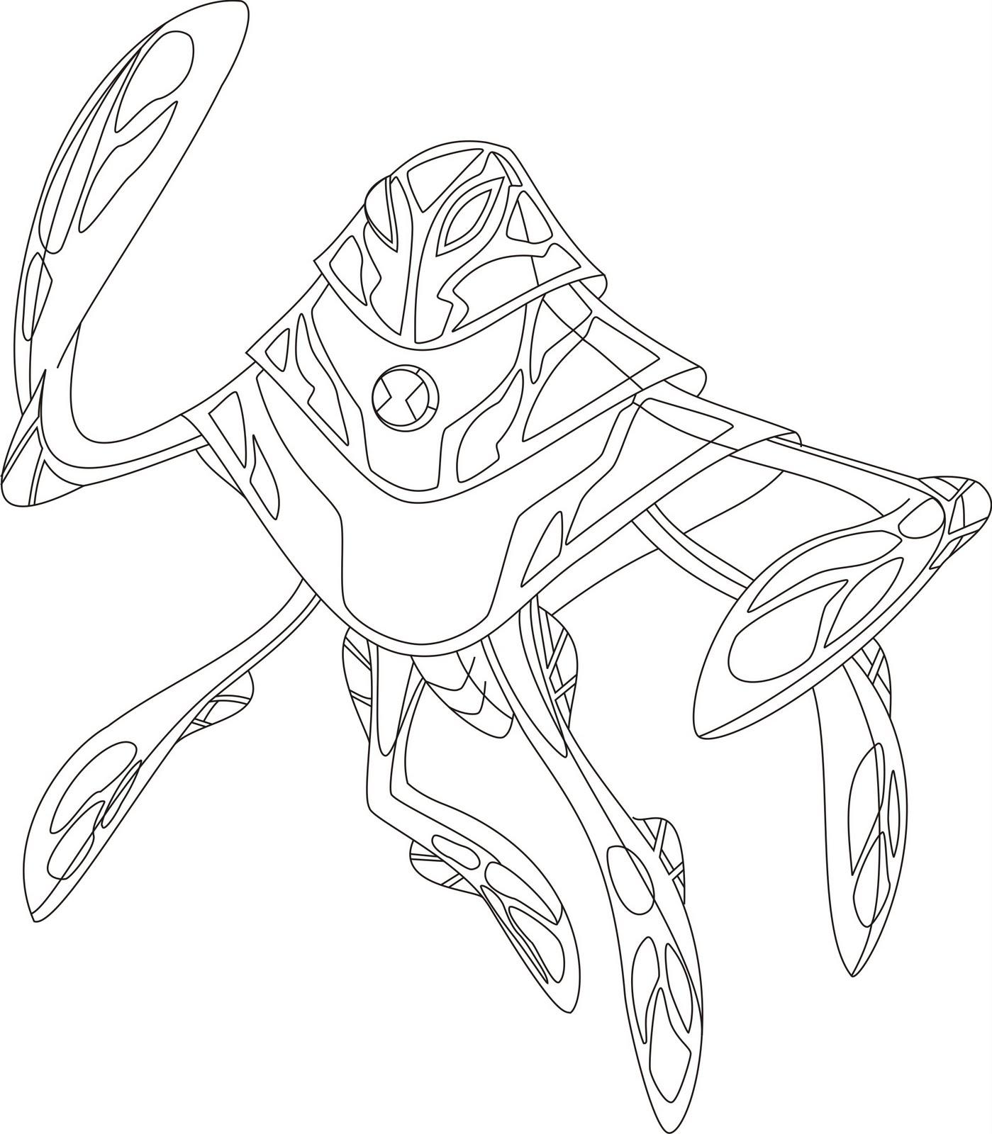 Dibujo de Ampfibio, el Alienígena extraterrestre de ben 10 para colorear