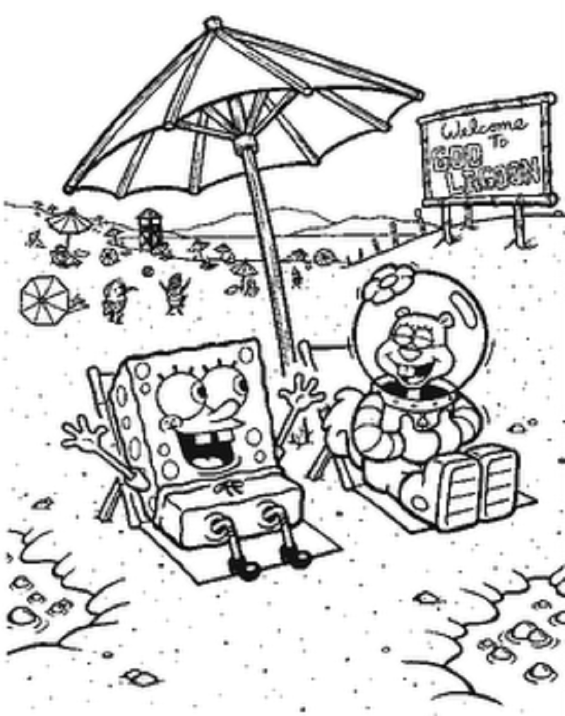 Dibujo para imprimir y colorear de Bob Esponja y Arenita en la playa