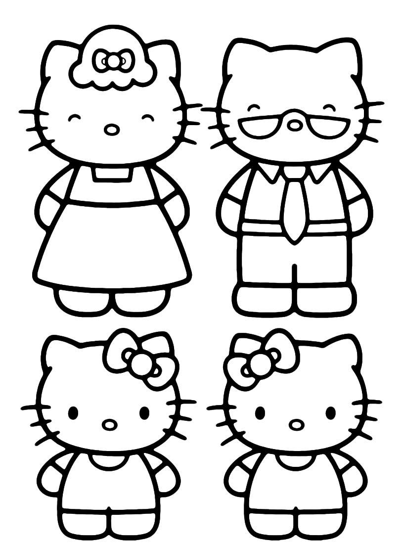 Dibujo Para Imprimir Y Colorear De Hello Kitty Y Su Familia