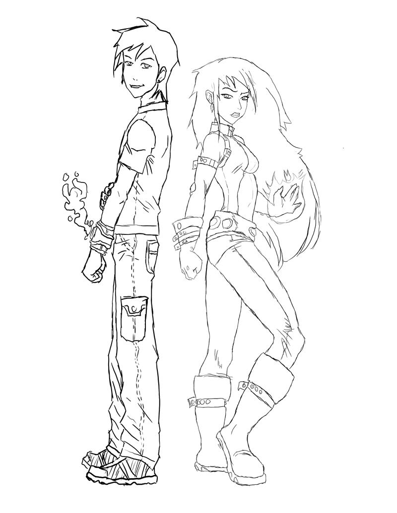 Ben y Gwen de la serie Ben 10 alien Force para colorear e imprimir