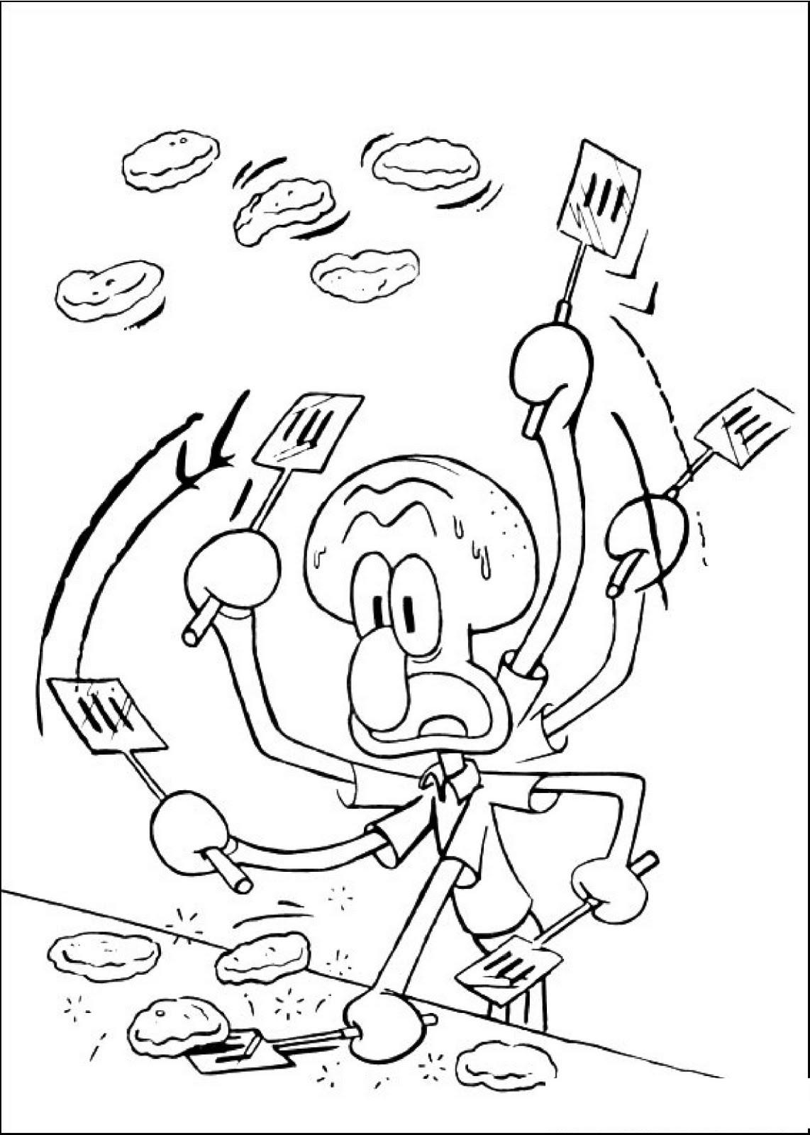 Dibujo para imprimir y colorear de Calamardo cocinando de la serie ...