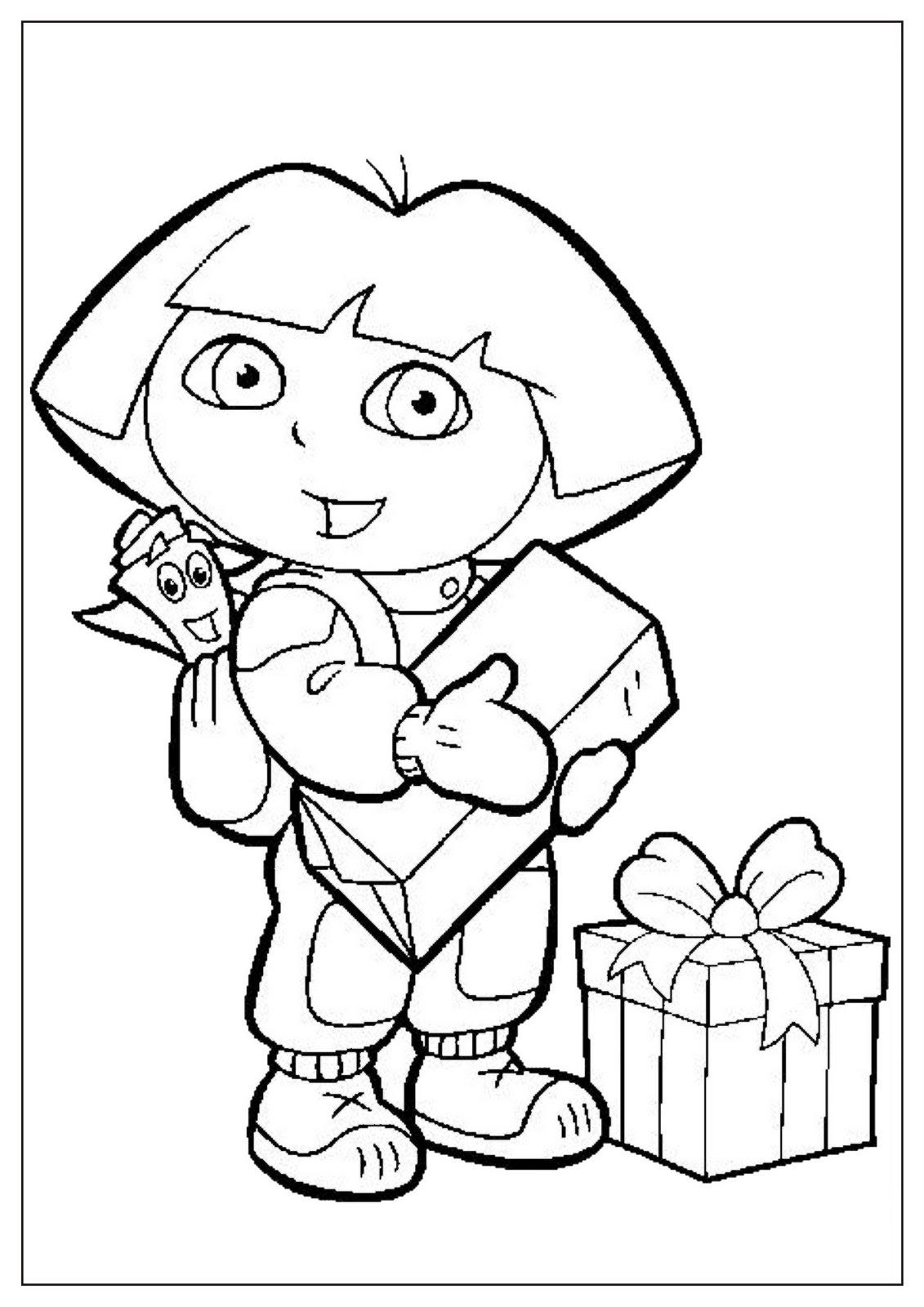 Dibujo para colorear de Dora la exploradora con Mochila y muchos regalos