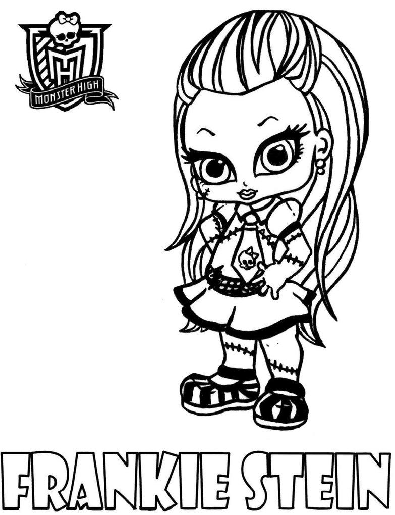 Dibujos para colorear de Frankie Stein pequeña de las Monster High