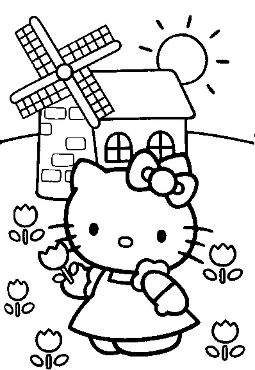 Dibujo para colorear de Hello Kitty en el molino