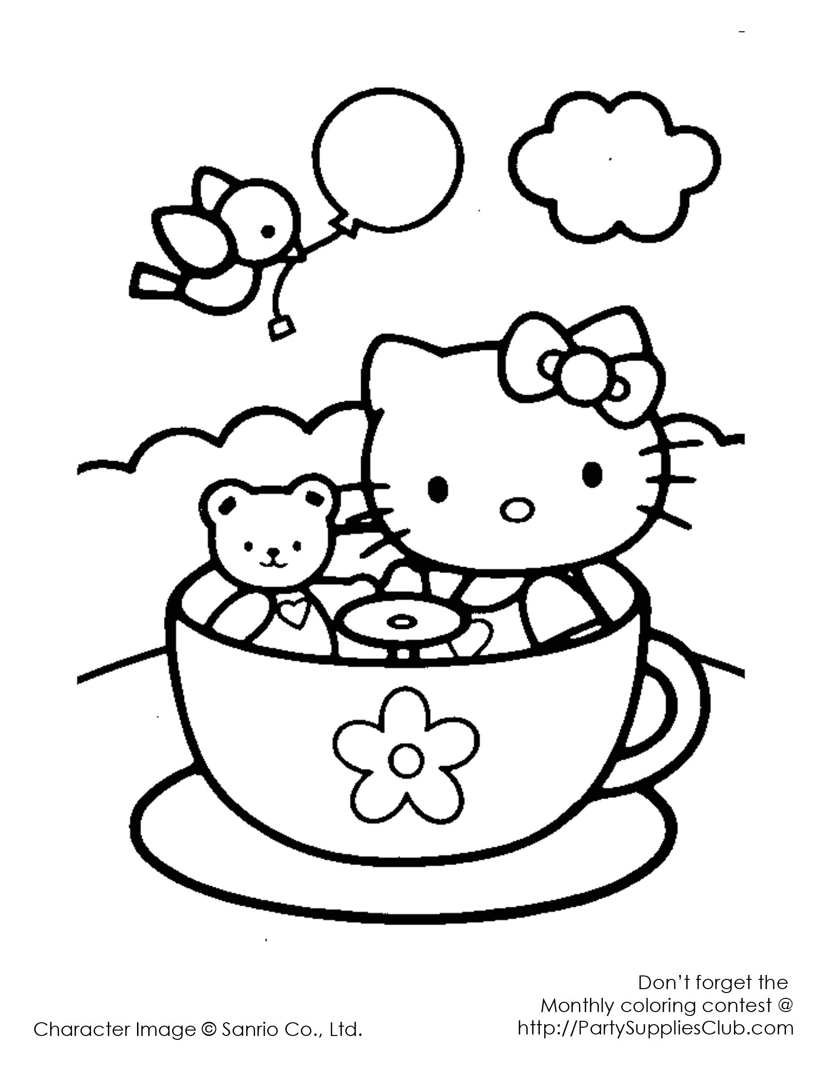 Dibujo para colorear de Hello Kitty en las tazas de la feria