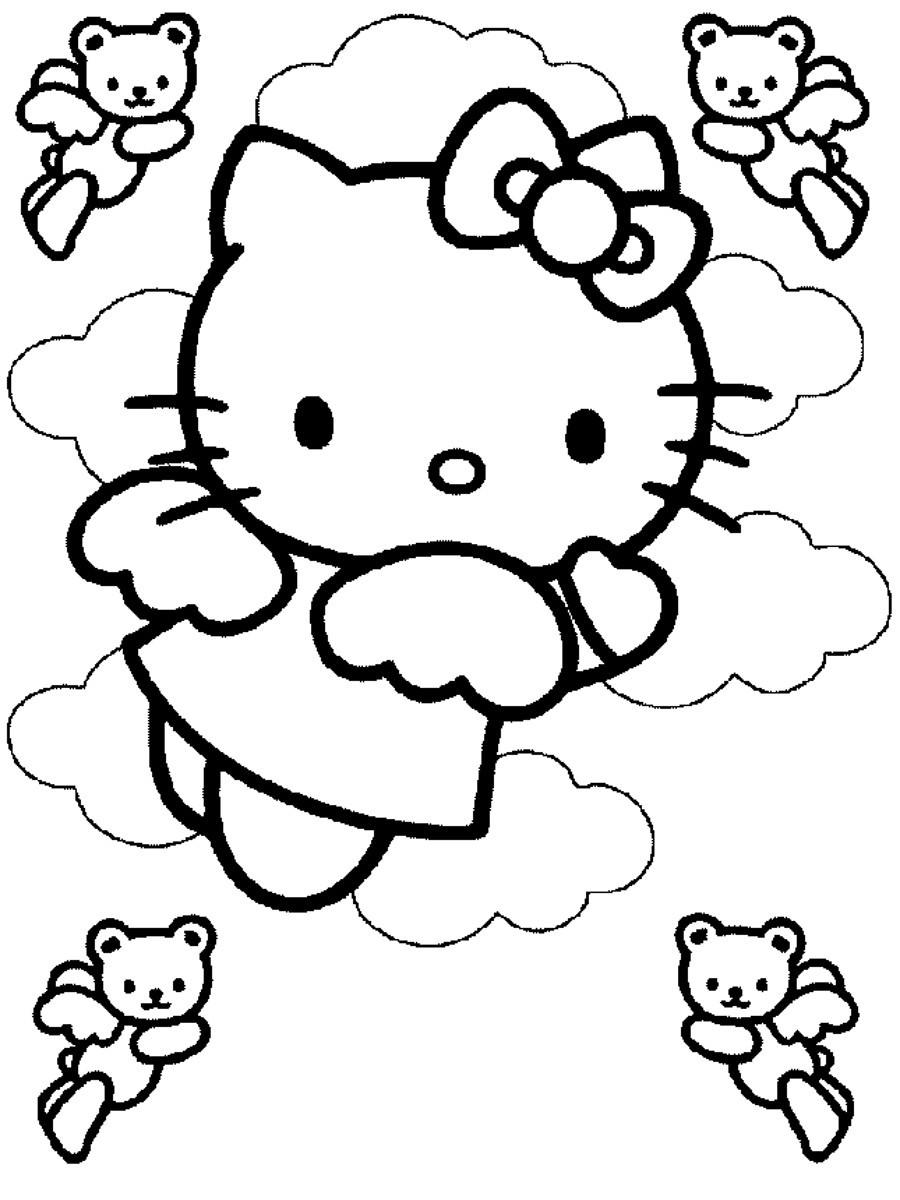 Dibujo Para Imprimir Y Colorear De Hello Kitty Es Un Tierno Angelito