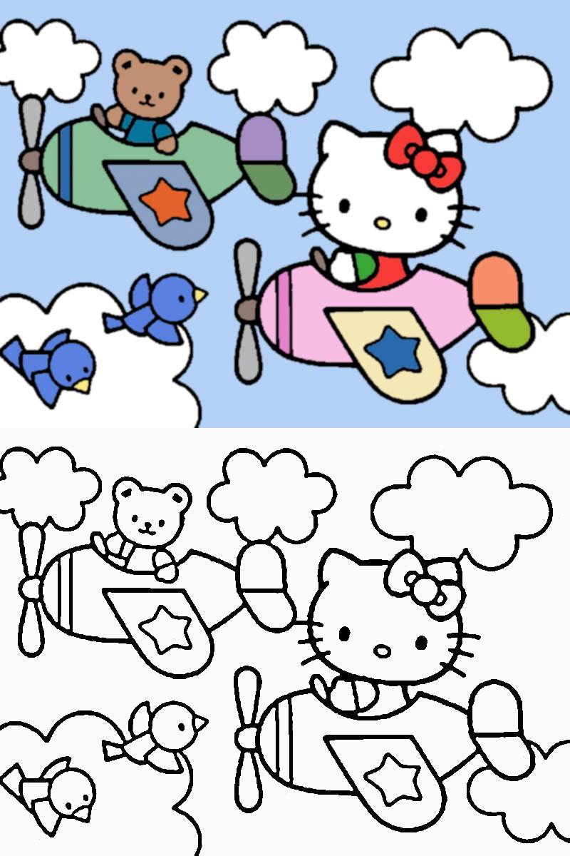 Dibujo para colorear de Hello Kitty y su osito en avión