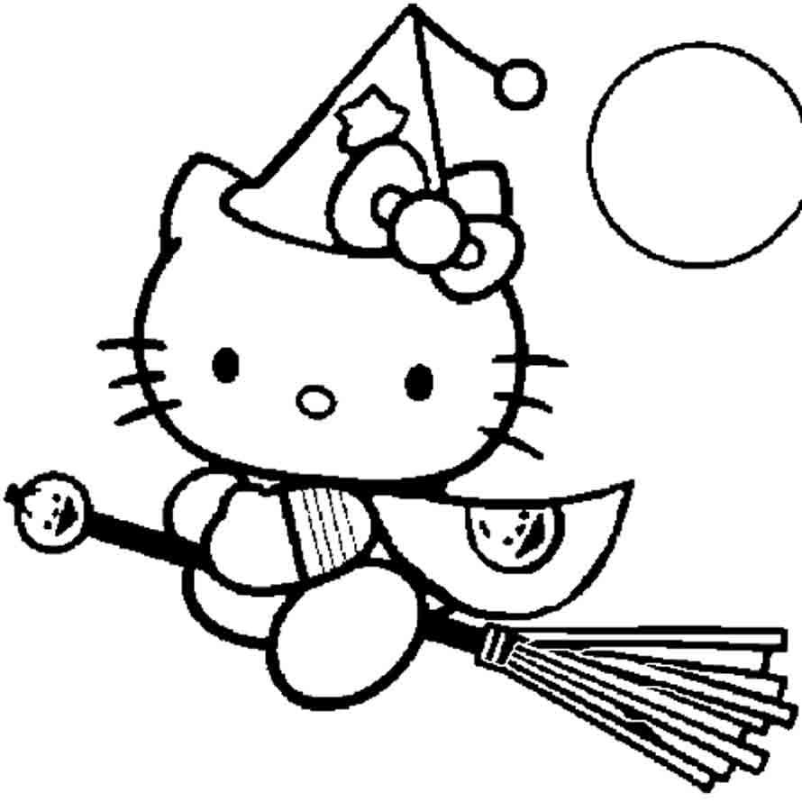 Dibujo para imprimir y colorear de Hello Kitty, una buena brujita ...