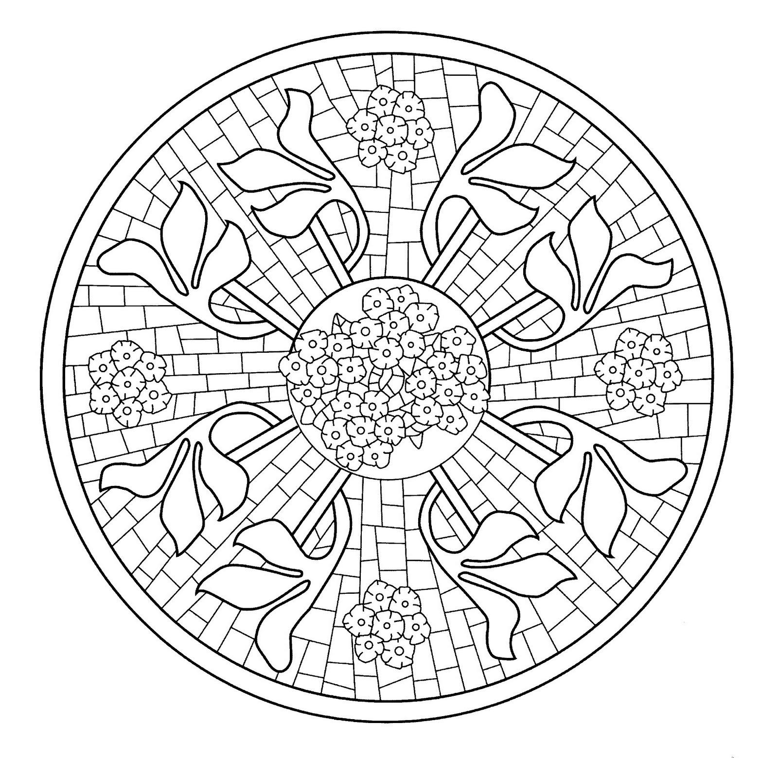 Dibujos para colorear de Mandala Mosaico con flores