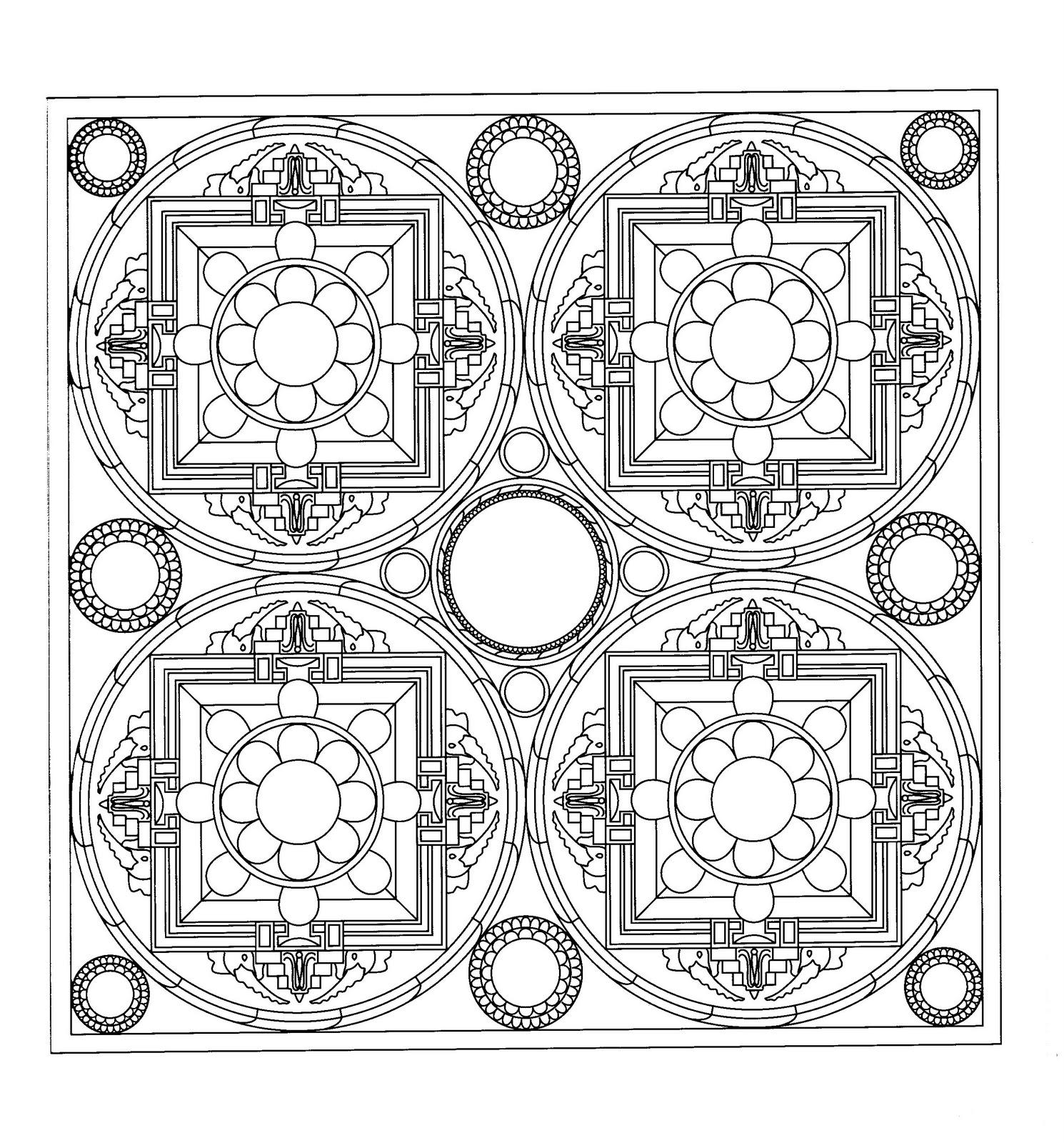 Dibujo para colorear Mandala cuadrado con motivo cuadruple