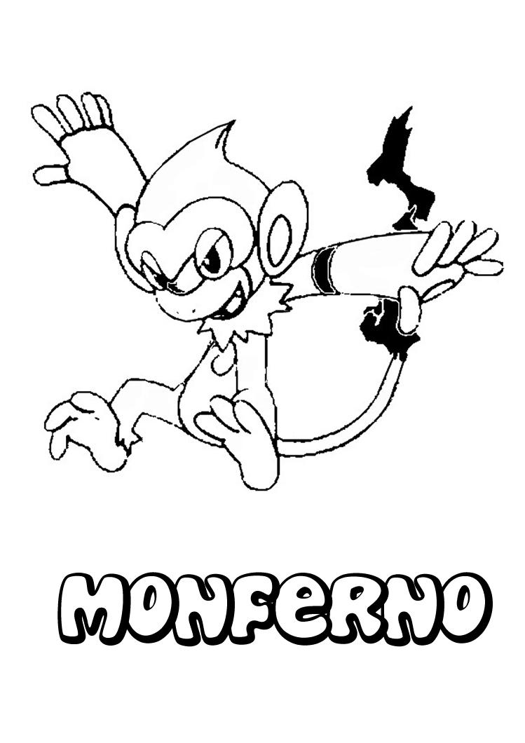 Dibujo para imprimir y colorear de Monferno, el Pokemon de cuarta ...