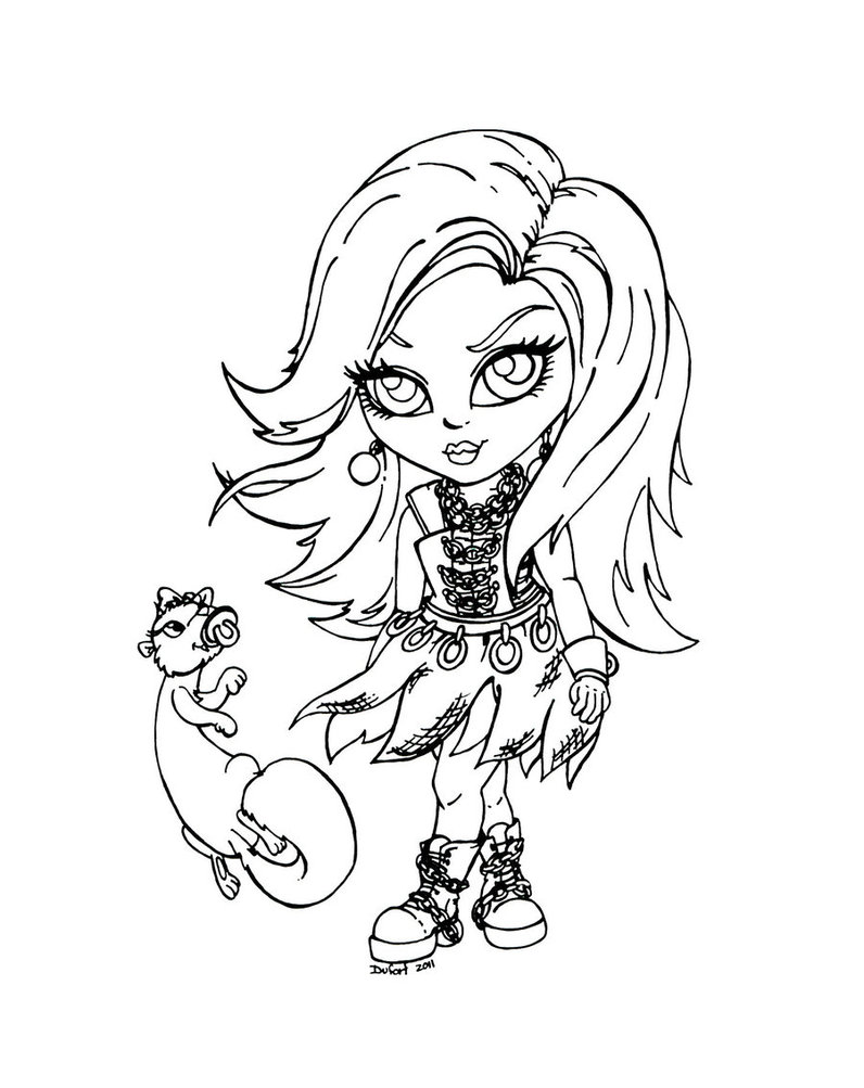 Dibujo para colorear de Monster High, Spectra y su mascota Rhuen