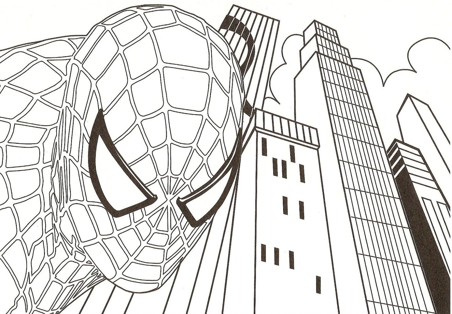 Dibujo Para Imprimir Y Colorear De Spiderman Y Los Rascacielos