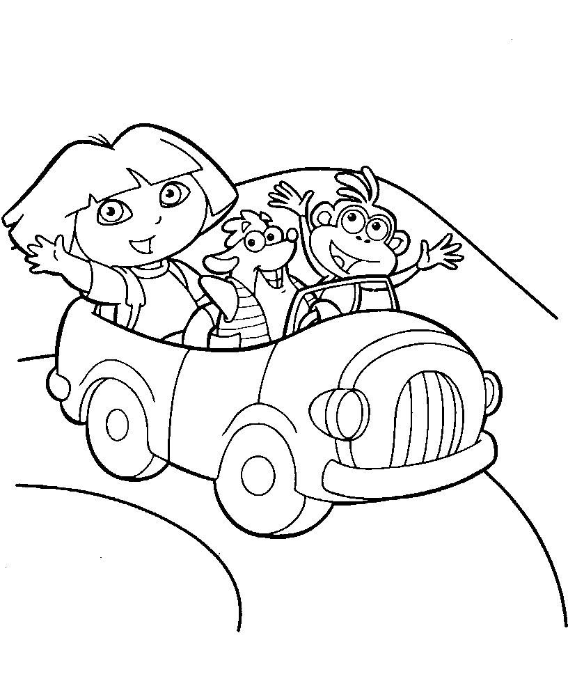 Dibujo para colorear de Dora la exploradora, Tico y Botas se van de excursión
