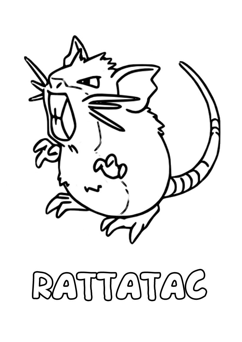 Pokemon Rattatac Raticate para colorear on line