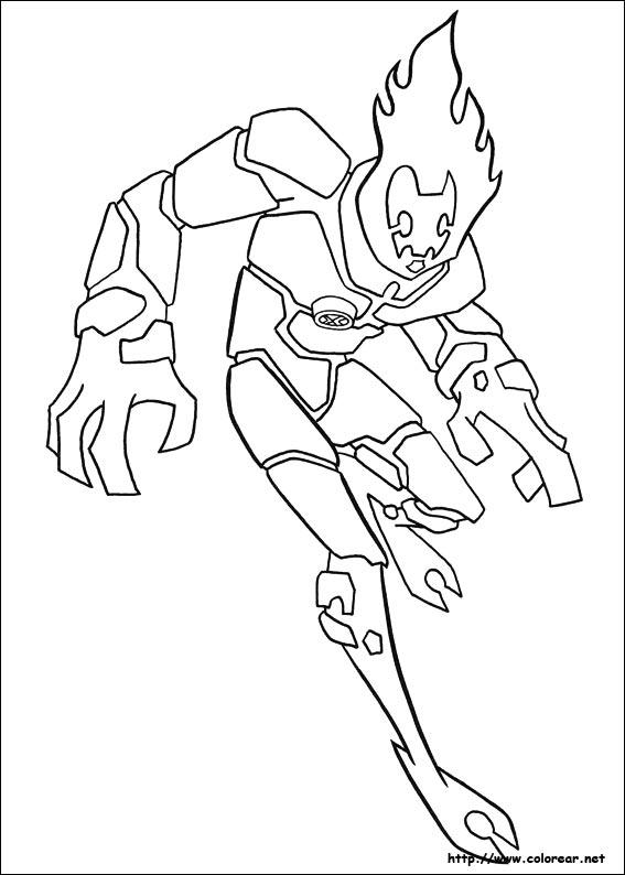 Alien de fuego - ben 10 para colorear