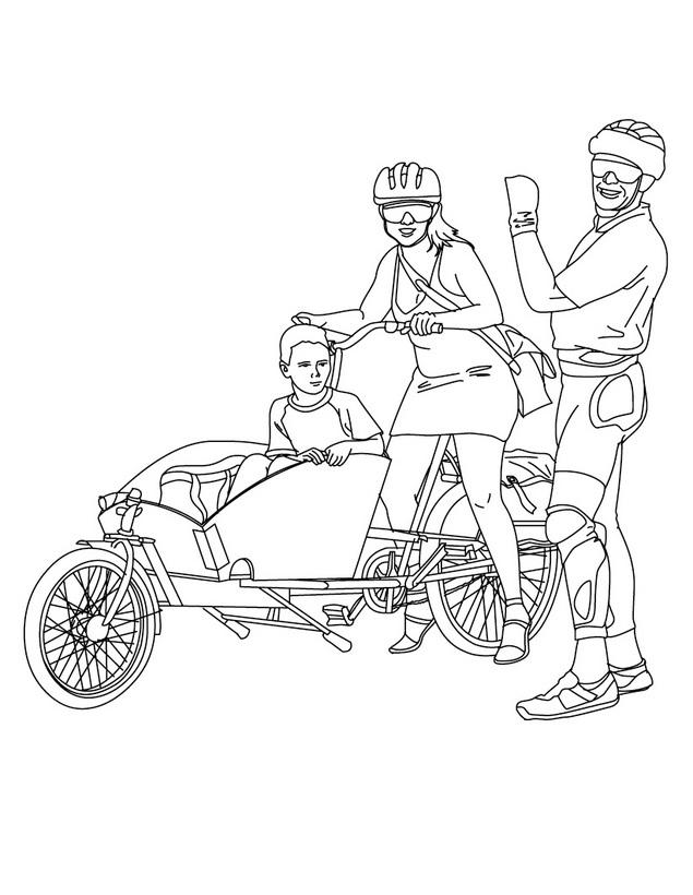 Dibujo para colorear de una Bicicleta familiar
