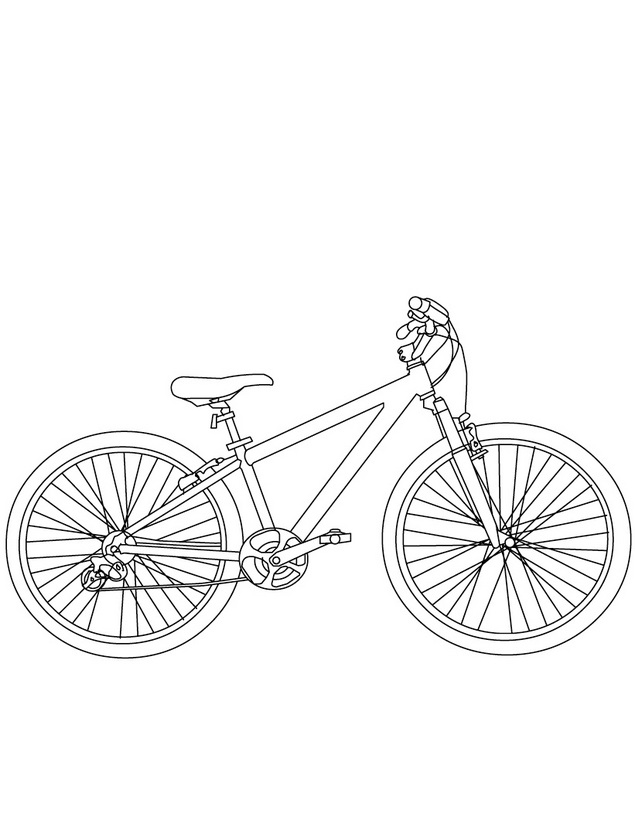 Dibujo para imprimir y colorear de Bicicleta de montaña - Mountain bike