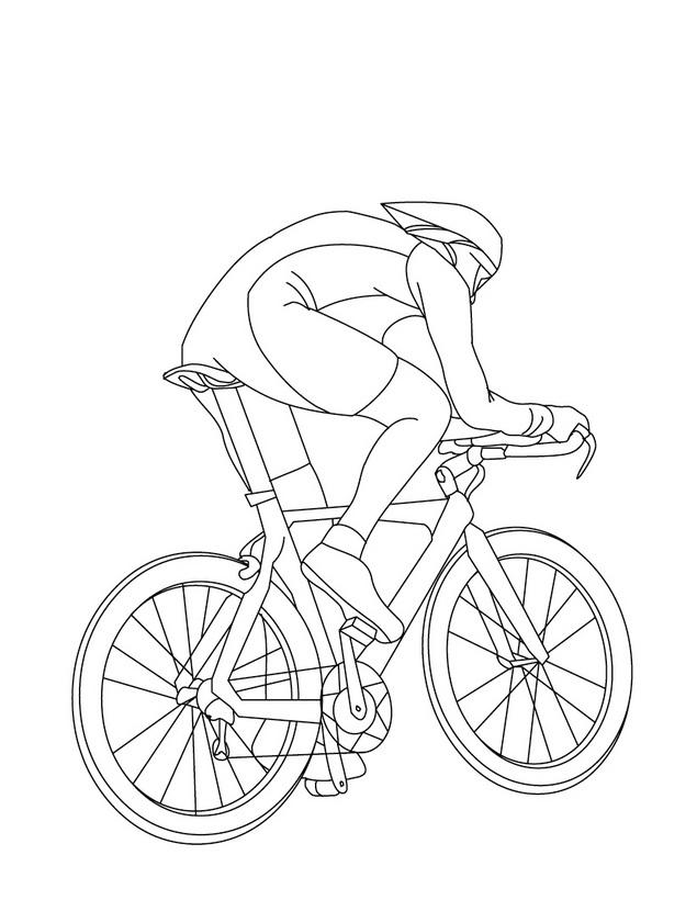 Dibujo para colorear de un cliclista de mountainbike