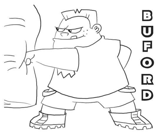 Dibujo para imprimir y colorear de Buford: pandilla de Phineas y Ferb