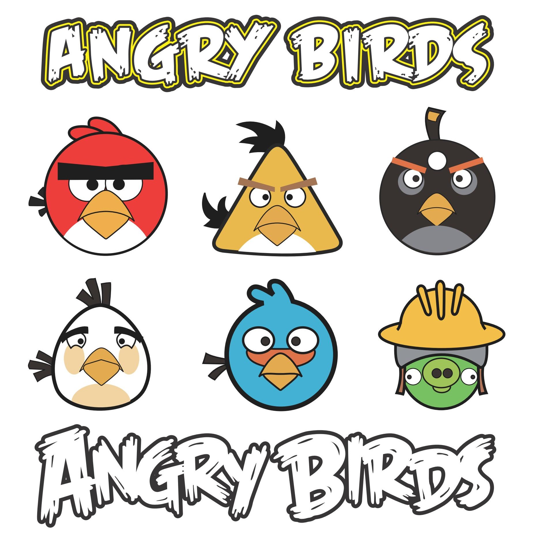 Dibujo para imprimir y colorear de Angry Birds coloreados